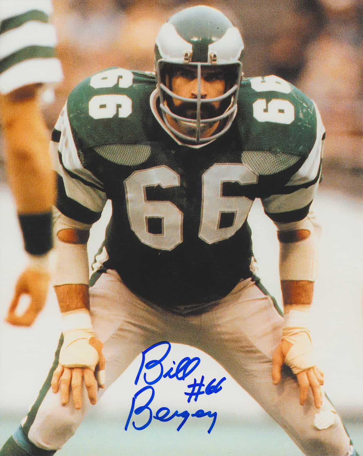 quality design fd2c1 b0e63 Bill Bergey Signed Philadelphia Eagles 8x10 Vertical Color Photo with Number