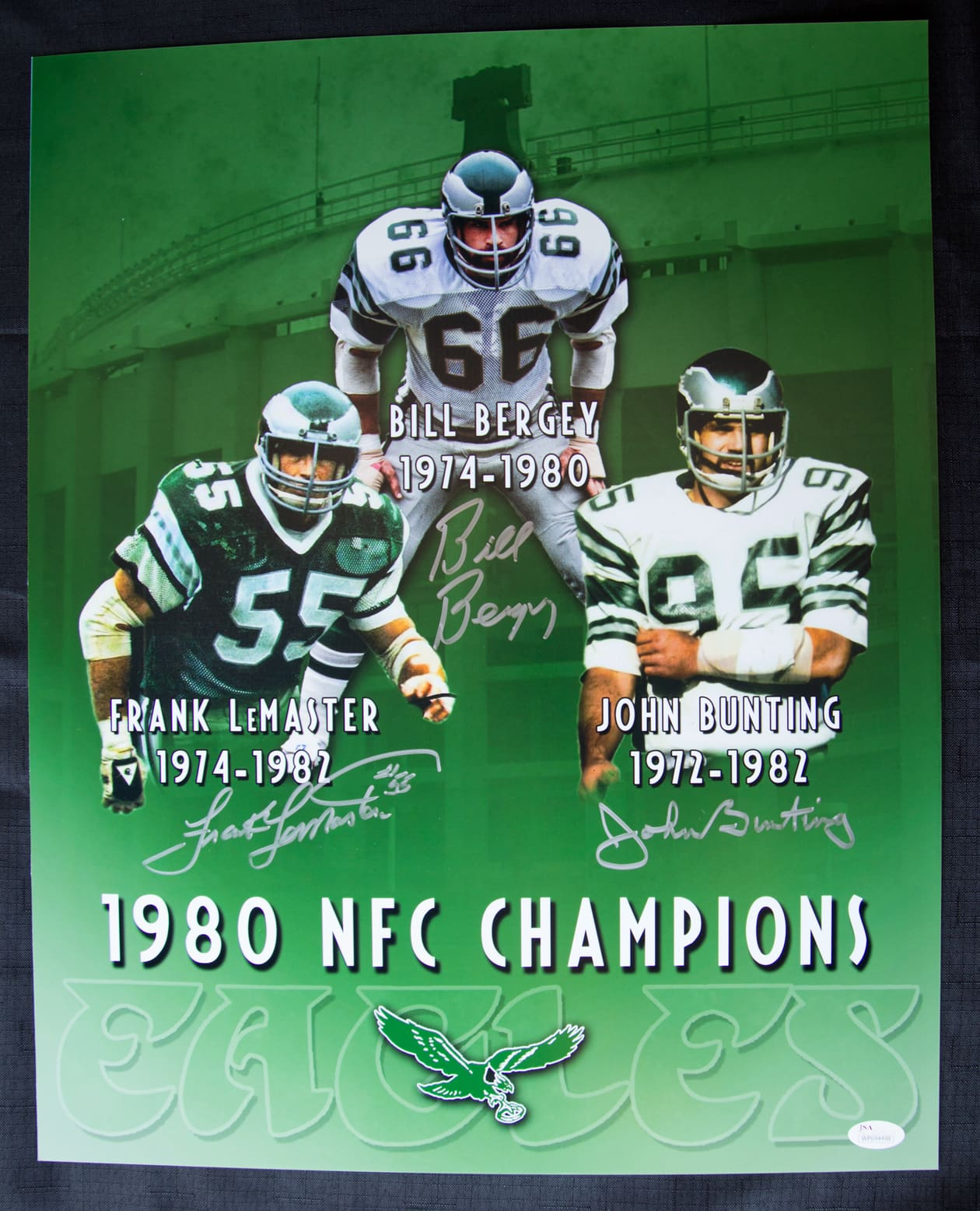 19051cd60 1980 NFC Championship Eagles Linebackers 3 Player Signed 16×20 Custom Color  Photo