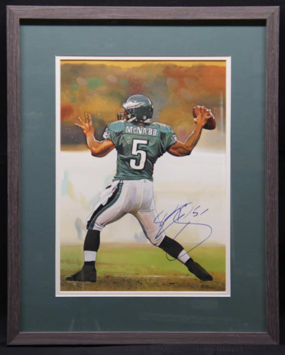 DONOVAN McNABB  CUSTOM FRAMED 11X14 ORIGINAL WATERCOLOR